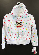 New PAUL FRANK Girl's Cotton Hoodie Sweatshirts, Size 4, 6, 6X Multi-Hearts