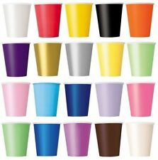 Plain Solid Colours  9oz Premium Paper Cups Pack Of 8 Ideal For Parties