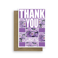 Thank you card edit name optional personalised message inside purple flowers