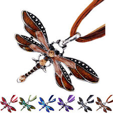 Retro Lady Dragonfly Charms Fashion Necklace Chain Rhinestone Inlay Pendant