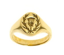 Scottish Thistle Ring Men's Signet Ring Gents Handmade Jewellery Quarter B'ham