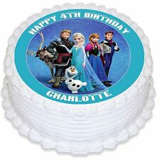 Frozen Personalised Round Edible Icing Cake Topper - PRE-CUT