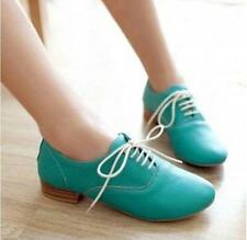 Womens Pu Leather Seeet Chunky Heels Lace Up Pumps Oxfords Brogue Casual Shoes
