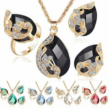 Women Elegant Crystal Peacock Pendant Necklace Ring Earring Wedding Jewelry Gift