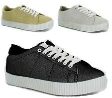 WOMENS GIRLS FLAT PLATFORM SHIMMER CANVAS LACE UP TRAINERS PUMPS CASUAL SIZE 3-8