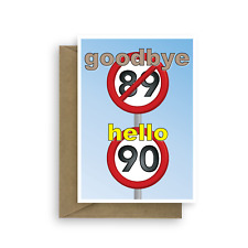 Funny 90th Happy Birthday Card for him for her 90 birthday wishes card 90th bday