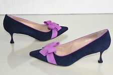 $825 NEW Manolo Blahnik CONTINA Pumps BB Suede Navy Bow Purple Heels Shoes 41 42