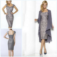 2 Pieces Sliver Mother Of The Bride Dresses Knee-Length Lace Wedding Party Gowns