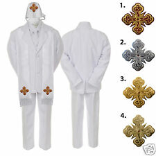 5 6 7pc White Baby Boys Notch Lapel Necktie Formal Tuxedos Suits Cross Hat Stole