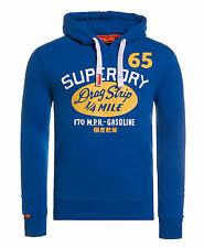 New Mens Superdry Drag Strip Classic Hoodie Chicago Blue