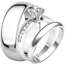 His Hers Princess Cut CZ Stainless Steel Engagement Wedding Ring Match Band Set