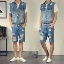 Mens Vintage Casual Denim Vest Shorts Jumpsuits Rompers Jeans Overalls Dungarees