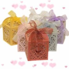 10pcs Heart Favour Box Laser Cut Wedding Sweets Favor Candy Gifts Boxes Box