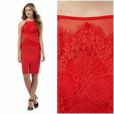 LIPSY SIZE 12 RED LACE HIGH NECK SHIFT BODYCON DRESS BNWT NEW STYLE IN