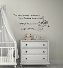 Winnie the Pooh Wall Decals Braver Stronger Smarter Vinyl Sticker Decal L343