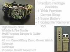 S F Military Camo Green  Paracord Survival Bracelet Compass Fire Whistle Watch
