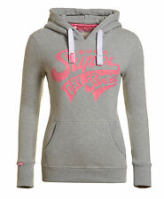 New Womens Superdry Supersonic Entry Hoodie Grey Marl