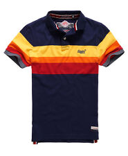 New Mens Superdry Triband Chest Stripe Polo Shirt Eclipse Navy Grindle