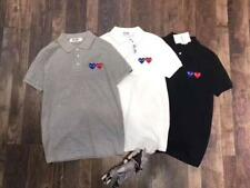 MEN'S UNISEX COMME DES GARCONS CDG PLAY POLO DOUBLE HEART COTTON T-SHIRS 3COLORS