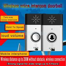 200m Wireless Doorbell Remote Control Door Chime Button with Voice Intercom,Pick