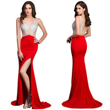 Sexy Lady Micro Fiber Backless High Split Sequins Long Mermaid Evening Dress Red