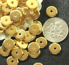 Heishi Disk Beads, Tierracast, 8mm Spacers, Gold Plate, 20/100 Pieces, 4425