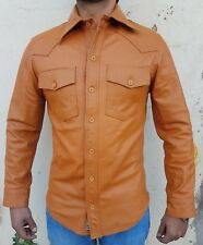 VIPZI MEN'S REAL TAN LEATHER POLICE MILITARY STYLE SHIRT GAY BLUF FULL SLEEVES