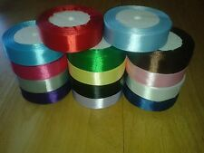 """25 yards (22 m) Satin Ribbon 1"""" (25mm) 15 Colours Blue Pink Green Red White etc"""