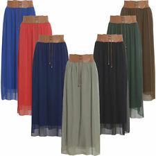 New Ladies Chiffon Long Maxi With Belted Waist Womens Summer Skirt AF