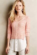 NWT Anthropologie Layered Aselin Pullover Moth Knit Sweater Top, XS, L, XL, Rose