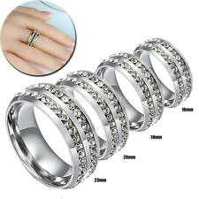 6mm Silver Titanium Stainless Steel Double Row Ring Wedding Band Crystal Rings