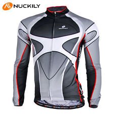 Men Team Cycling Long Sleeve Tops Bicycle Jersey Racing Clothing Sportswear Gray