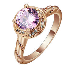 Pink Sapphire CZ Engagement Ring 18KT Rose Gold Filled Women's Jewelry Size 7-10