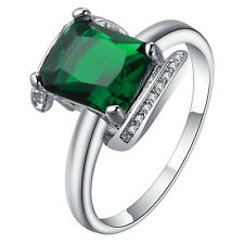 ELEGANTgreen gemstone square CZ Wedding Engagement  18kt white Gold filled Ring