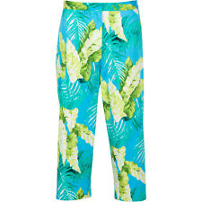 C.J. BANKS Cropped Pants Floral Palm Print Cotton Blend Stretch Plus Size Women
