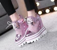 New Womens High Hidden Wedge Heels Mesh Breathable Sneaker Casual Shoes Chic99