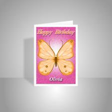 Butterfly personalised birthday card for her Happy birthday card for girl orange