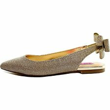 Betsey Johnson Womens Ann Fabric Pointed Toe Ankle Strap Ballet Flats