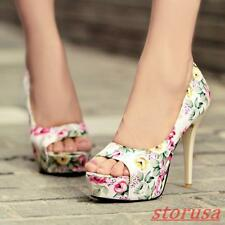 Womens Peep Toe Stiletto High Party Shoes Floral Printed Platform Pump Sandal Sz