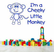I'M A CHEEKY LITTLE MONKEY childrens bedroom playroom wall art vinyl sticker
