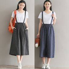 Women Linen Strap Tousers Striped Overalls Dungarees Cropped Pants Rompers Loose