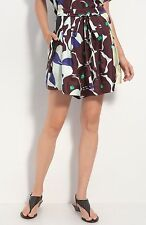 $285 NEW Diane von Furstenberg DVF Donovan Shorts Silk Pop Meadow Brown Yellow 6