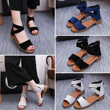 Women Block Heel Open Toe Shoes Roman Gladiator Sandals Cross Strap Ankle Shoes