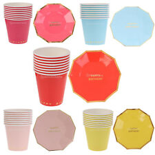 """8pcs 7"""" Disposable Paper Dessert Plates Paper Cups Birthday Party Tableware Set"""