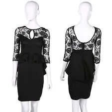 New Ladies Womens Dress Black Midi Bodycon Party Stretch Lace Celeb Long  AY