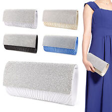 Ladies Satin Pleated Evening Party Wedding Prom Envelope Clutch Hand Bag