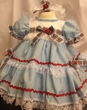 DREAM BABY BLUE TARTAN RED TRIM SPANISH DRESS 0 UP TO  4 YEARS  OR REBORN DOLLS