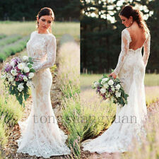 Long Sleeve Wedding Dresses For Bride Lace Applique Bridal Gowns Size 4 6 8 10 +