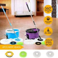 Spin Mop AND Bucket Set With Foot Pedal Floor Mop &  Microfiber Heads E6O4