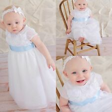 2017 Baby Baptism Dress Simple Christening Gown/Outfit Custom Custom Sash 0-24M